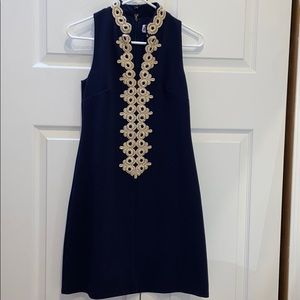 Blue mini dress with gold embroidery